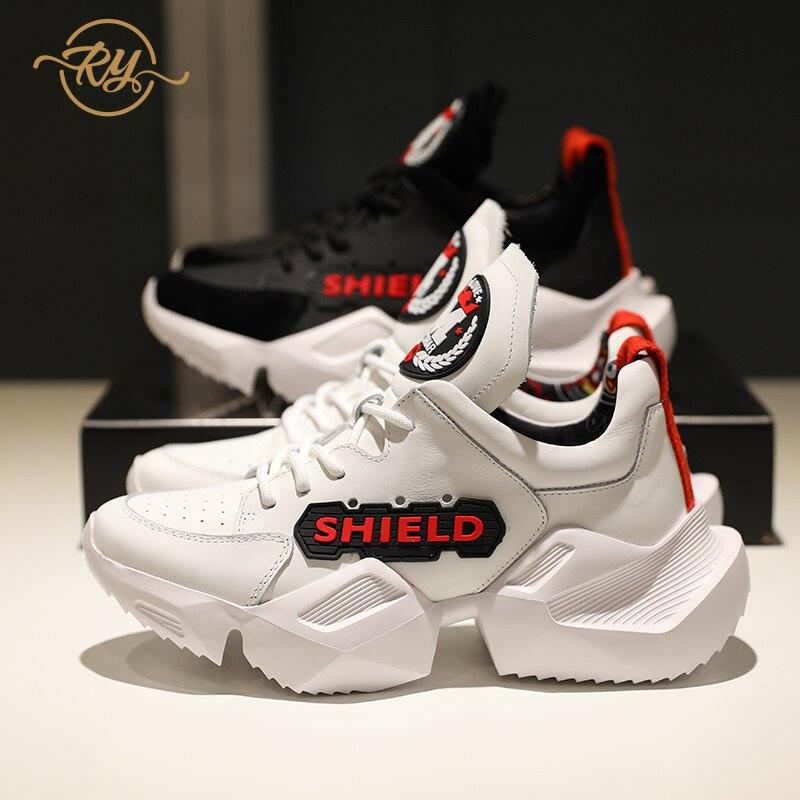 2018 Blanco Mujer Negro Plataforma Ry Genuino Deporte Negro relaa Zapatos Zapatillas Cuero blanco De wf5nxxSRYq