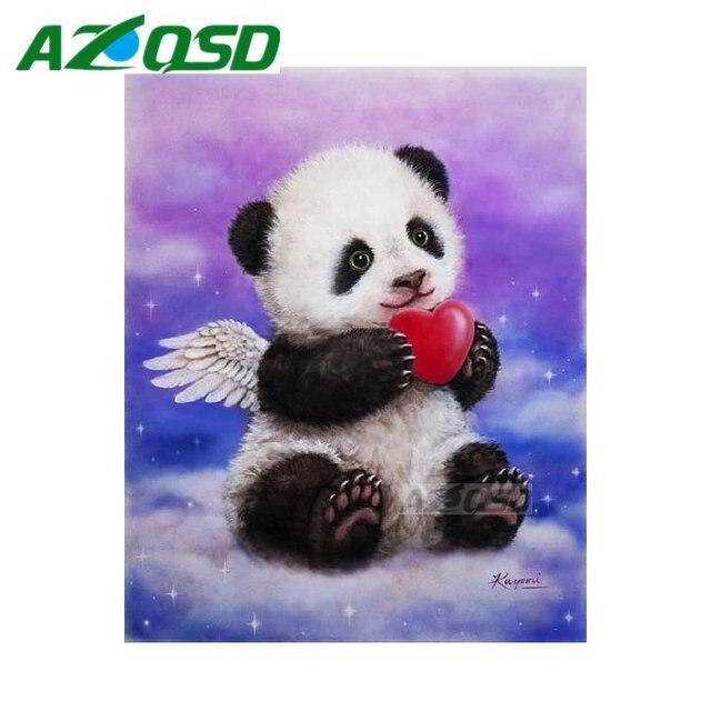 AZQSD 3D Diamond Painting Cross Stitch Angle Panda Love Full Square Drill  Diamond Embroidery Set Mosaic
