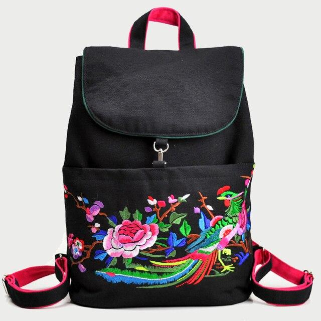 9674cf5765a6 ON Sale Chinese Style Ethnic Girl Backpacks Flower Embroidered School Bag  Mochila Cute Rucksack Vintage Laptop Black Backpacks