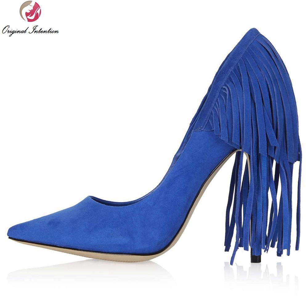 Фотография Original Intention Plus US Size 4-15 Women Pumps Pointed Toe Thin Heels Pumps Black Blue Nice Nubuck Leather Shoes Woman