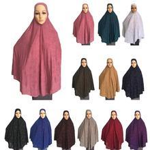 여자 이슬람기도 드레스 긴 스카프 Khimar Hijab 이슬람 대형 오버 헤드 의류기도 의류 모자 Niquabs 인쇄 Amira Hijabs