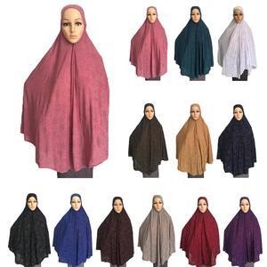 Image 1 - فستان نسائي مصلاة للمسلمين وشاح طويل Khimar حجاب إسلامي كبير ملابس علوية رداء الصلاة قبعة Niquabs مطبوع حجاب أميرة
