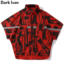 Dark Icon Printing Front Short Back Long Oversized Hip Hop Shirt Men Batwing Sleeve 3M Reflective Street Mens