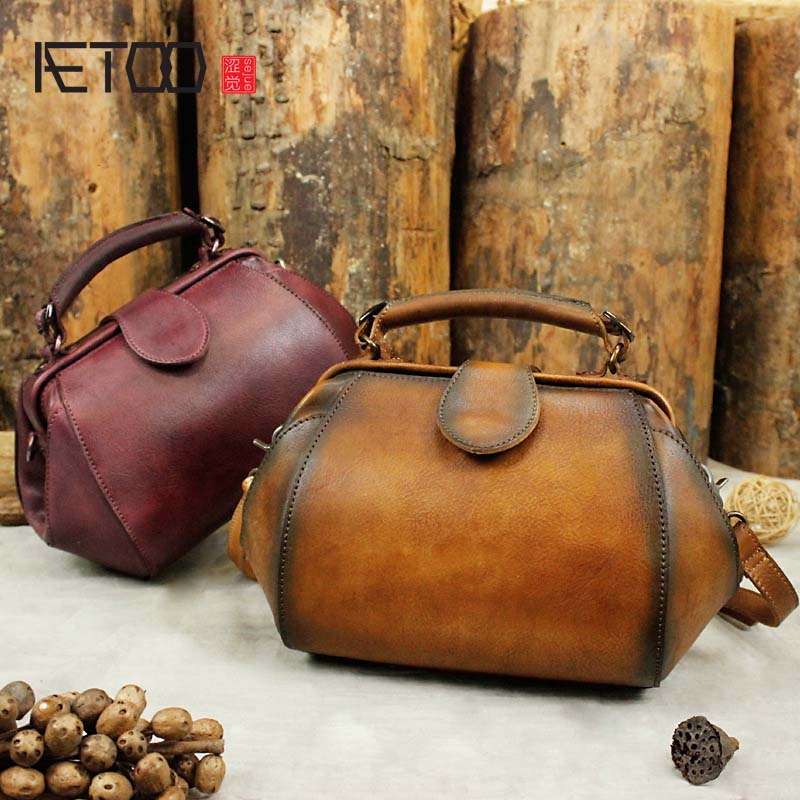AETOO 2018 new retro first layer cowhide leather zipper three-dimensional fashion handbag diagonal shoulder bag female min handbag shoulder diagonal three purpose butterfly spiraea lingge bag mar25