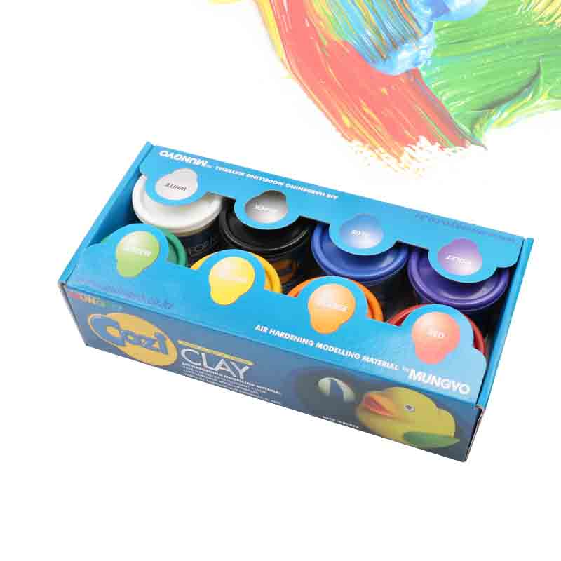 MUNGYO  Children safe self hardening ultra light clay mud 8 color set inflatable sand tray plastic mobile table for children kids indoor playing sand clay color mud toys accessories multi function