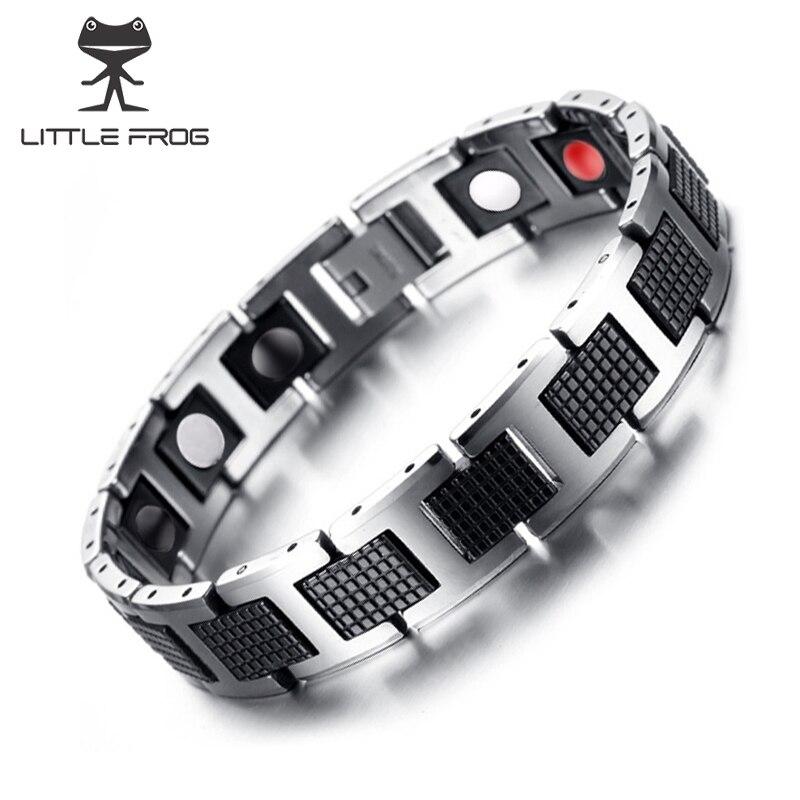 Pequeña rana negro pulsera hombres Cadena de mano energía salud germanio magnético Acero inoxidable hologramas pulseras para las mujeres hombres