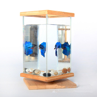 1pcs Super White Fish Tank Aquarium with LED for Desktop Home Decor Beige