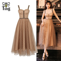 Tingfly Sweety Girl A line Party Dress Sequined Strap Polka Dot Summer Dress Lady Vintage Casual Dress Midi Long Vestidos Street