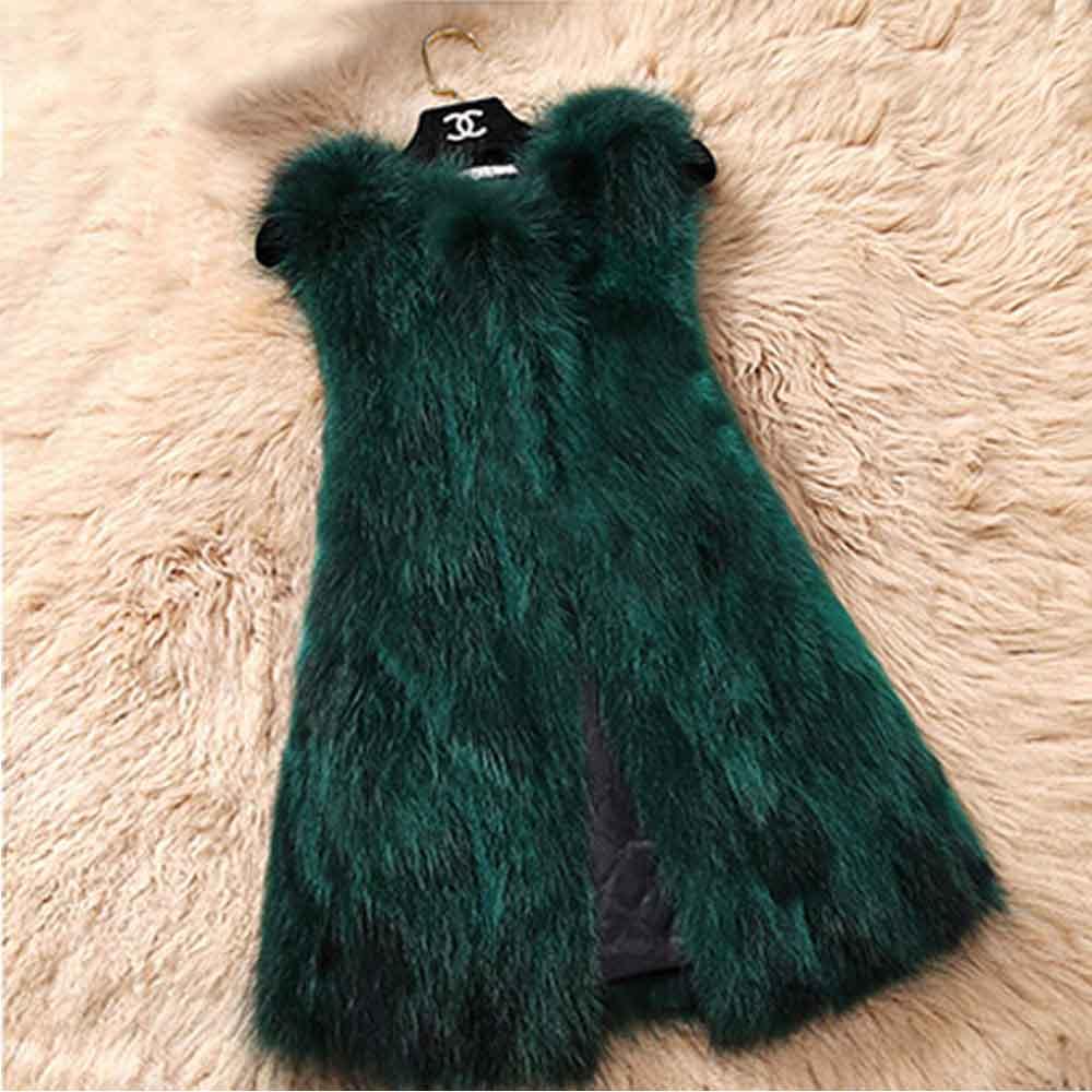 Из натурального меха серебристой лисы, жилет природа Для женщин лисий мех жилет фабрика изготовленный на заказ большие размеры, куртка из искусственного меха, TFP872 - Цвет: Green