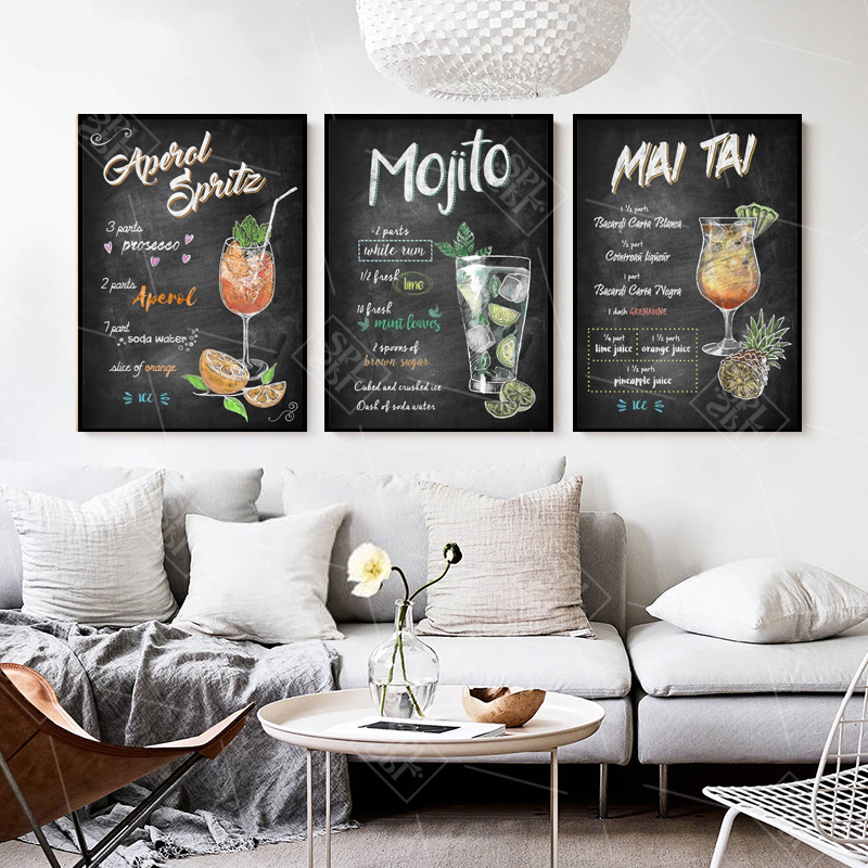 Image 4 - Abstract Hand Drawn Colorful Cocktails Drinks Canvas Art Posters and Prints Pub Bar Decoration Wall Picture Painting No Framed-in Painting & Calligraphy from Home & Garden