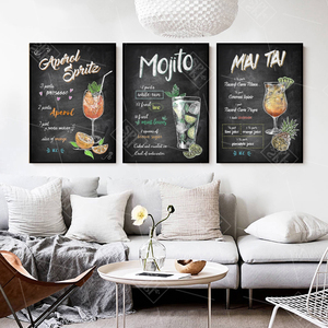 Image 4 - Abstract Hand Drawn Colorful Cocktails Drinks Canvas Art Posters and Prints Pub Bar Decoration Wall Picture Painting No Framed