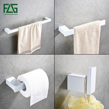 FLG Bath Hardware Sets Bathroom Wall Mount Towel Bar,Robe hook,Paper Holder White and Black Style Accessories 4pcs set G120-4W bix a1053 eye and orbit model g120
