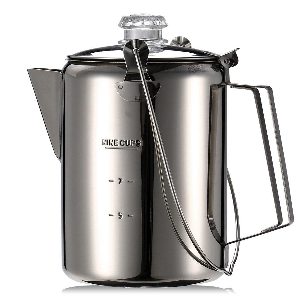 Außen 9 Tasse Edelstahl Percolator Kaffee Topf Kaffee Maker für Home Küche Outdoor Camping Geschirr Zubehör 12*16 cm