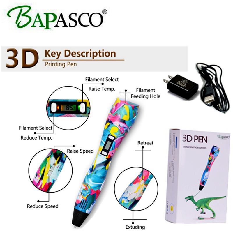BAPASCO New style 3D Printing Pen K3 3D Pen compatible PLA/PCL Kids Souptoys Temperature LED Screen Safe Drawing Pen 3D