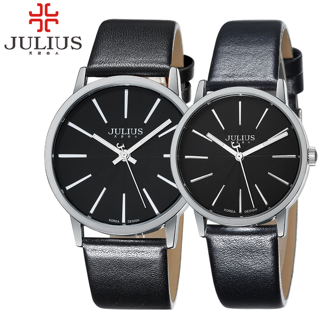 JULIUS Марка Простые Часы Мужчины Женщины Спортивные Часы Кожа Кварцевые Бизнес-Леди Любителей Наручные Часы Reloj Mujer Montre Femme