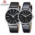 Julius marca relógios simples amantes das mulheres dos homens relógio do esporte de quartzo de couro das senhoras de negócios relógio de pulso reloj mujer montre femme