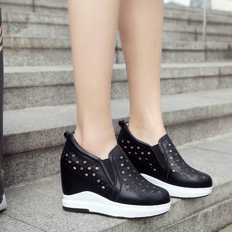Noir 2018 D'été Véritable Casual En Nouvelle Chaussures Haute Respirant argent Femmes Interne {zorssar} Cuir blanc Découpes Mode Talons Augmentation adwAfqf