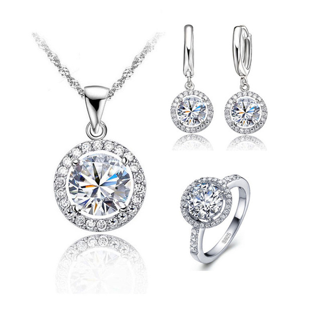 JEXXI Top Quality Wedding Necklace Earring Ring Jewelry Set For Women S90 Silver