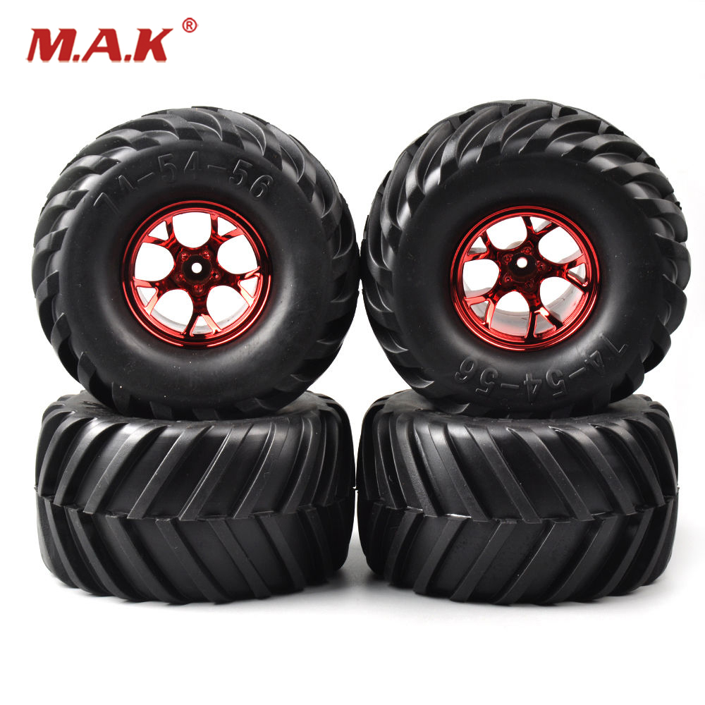 1:10 scale Rubber Bigfoot Tires For toy  Truck Wheel Rim Tires12mm Hex 135mm Tyre Red Wheel Rim For Car 3003R 4pcs set 12mm hex rubber tires tyre wheel rim for hsp rc 1 10 flat racing on road car pp0150 6rg toys vehicles accessories