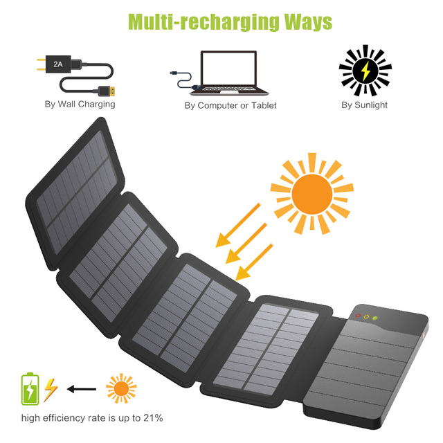 ALLPOWERS 10000mAh Solar Power Bank Waterproof Solar Charger External Battery Backup Pack for Cell Phone Tablets iphone Samsung 3