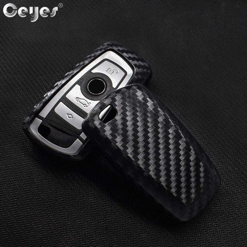 Ceyes Car-Styling Auto Carbon Fiber Key Cover Shell Case For Bmw New 1 3 4 5 6 7 Series F10 F20 F30 Smart 3 Buttons Accessories