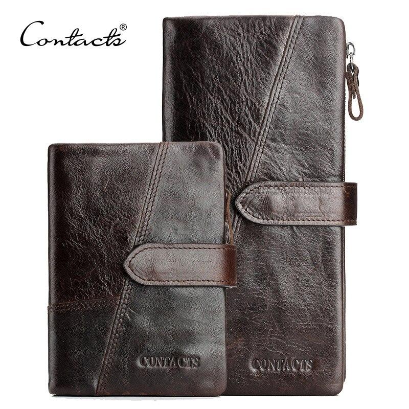 CONTACT'S Echte Crazy Horse Rindsleder Männer Brieftaschen Mode Handtasche Mit Karte Halter Vintage Lange Brieftasche Kupplung Handgelenk Tasche