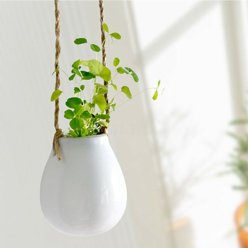 Vase Flower-Pot Hanging Planter Plant-Bulb Jute-Rope Balcony Ceramic Garden Home-Decor