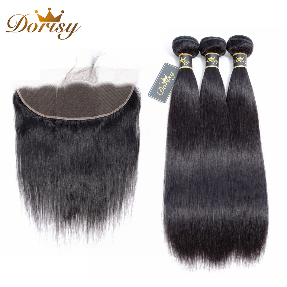 Straight Human Hair Bundles With Frontal Malaysian Human Hair Bundles With Closure Dorisy Remy Hair Extension