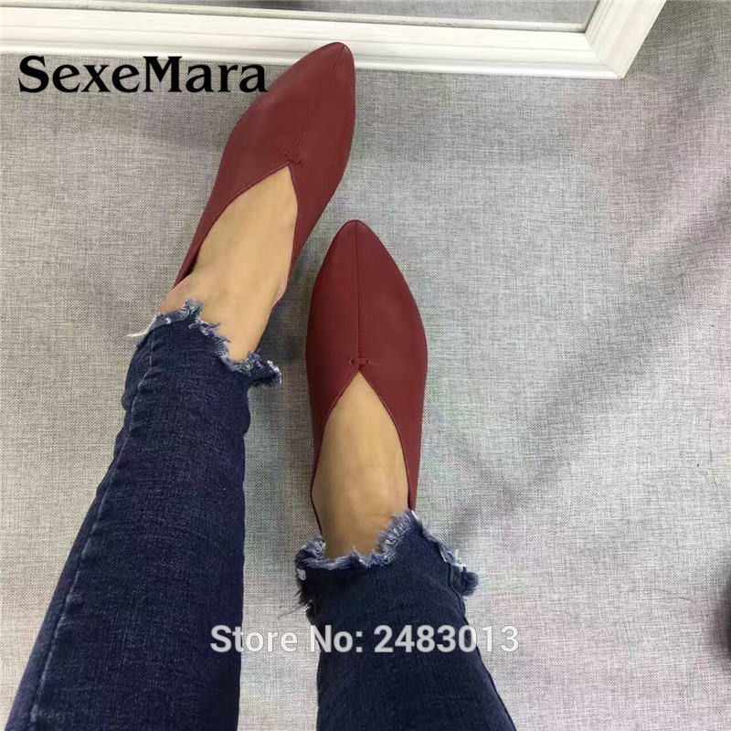 SexeMara Nuevo Hecho a mano 100% cuero genuino zapatos de mujer estilo simple zapatos de piel de vaca zapatos planos de las señoras envío gratis