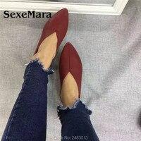 Sexemara new handmade 100% genuine phụ nữ da giày simple phong cách mềm giày da bò nữ đôi giày bằng phẳng miễn phí vận chuyển