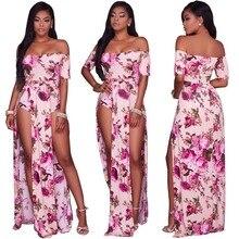 2017 D'été Femmes Sexy Coloré Floral Col Mou Off Épaule de Split-Parole Longueur Robe Beach Party Night Club Mujer Robe Femme