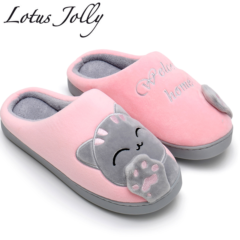 Women House Slippers Embroidery Cat Winter Warm Plush Home Indoor Shoes Women Fur Slippers Couples Zapatillas Mujer Plus size 44