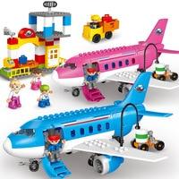 82pcs/set Large Airport Airbus Plane Figures Building Blocks City Set Compatible Legoings Duploe Enlighten DIY Bricks Kids Toys