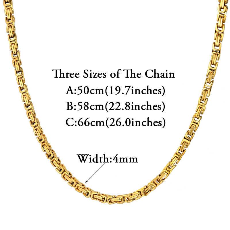 316L zestaw biżuterii ze stali nierdzewnej Hip-Hop złoty kolor bizantyjski łańcuszek bransoletka i naszyjnik zestaw dla mężczyzn sprzedaż hurtowa mężczyzn biżuteria