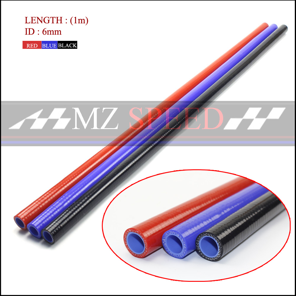 6mm 3 layers Polyester 1 Meter Silicone Straight Hose blue red Silica gel tube For Car engine Universal High temperature pipe