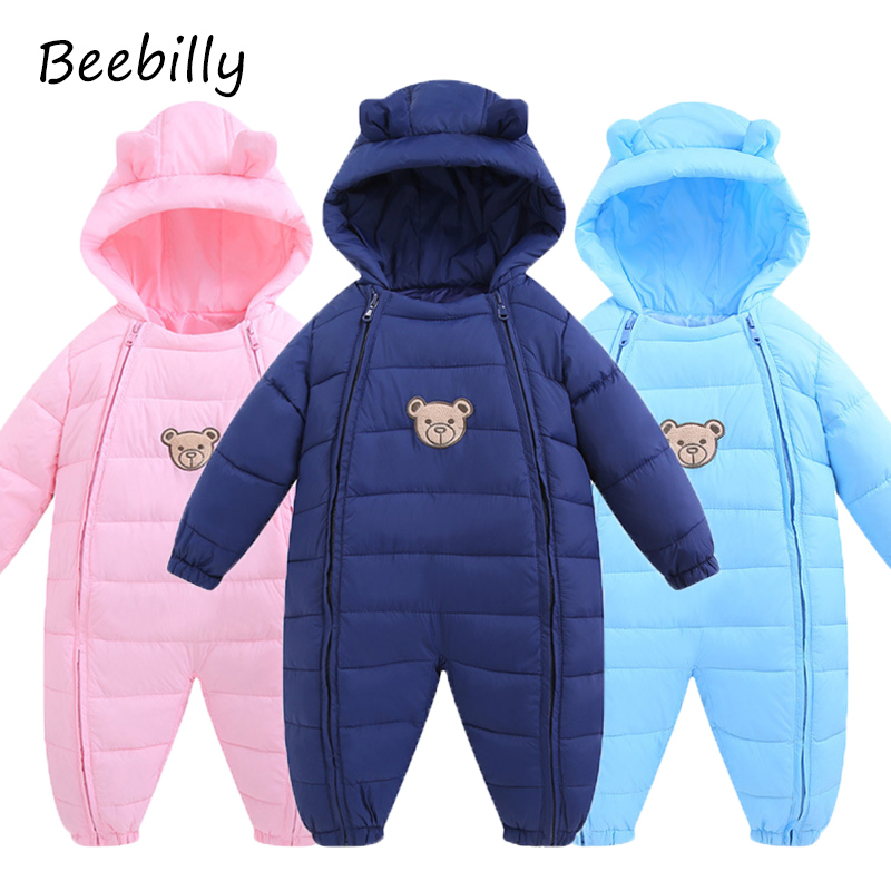 2017 Winter Jackets for Baby Girls Clothing Cotton Coats Fashion Bear Style Winter Jumpsuits Outerwear Brand Kids Boys Rompers
