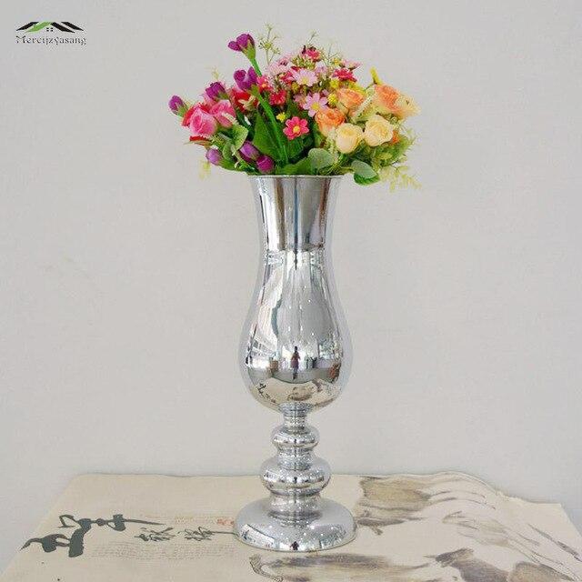 Vase Mit Blumen 12 teile los silber metall hochzeit blume vase tafelaufsatz für