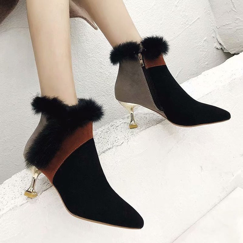 faux fur decoration ankle boots women gold high heeled plush winter booties mixed color suede leather peluche botas mujer s456 29