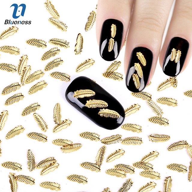 58mm Glitter Tree Leaves Design 3d Nail Art Decoration Gold Color