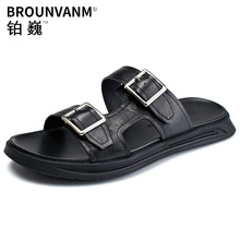 Slippers Mens Summer Sandals Trendy Man Buckle Belt Beach Shoes Outdoor Genuine Leather Slides