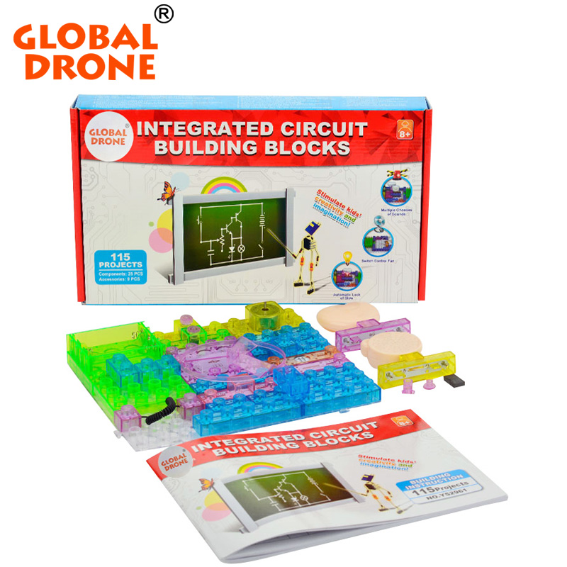 Global Drone 115 projects snap circuits smart electronic kit integrated circuit building blocks experiment educational kids toys smart electronic kit snap learning educational appliance toys diy building blocks models electronic 35 projects kid create toy