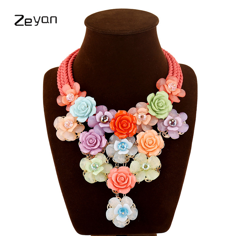 Zeyan big necklace women pendants jewelry flower choker necklaces pendants jewelry for lady fashion party collares mujer collier retro style flower pendants necklace for women