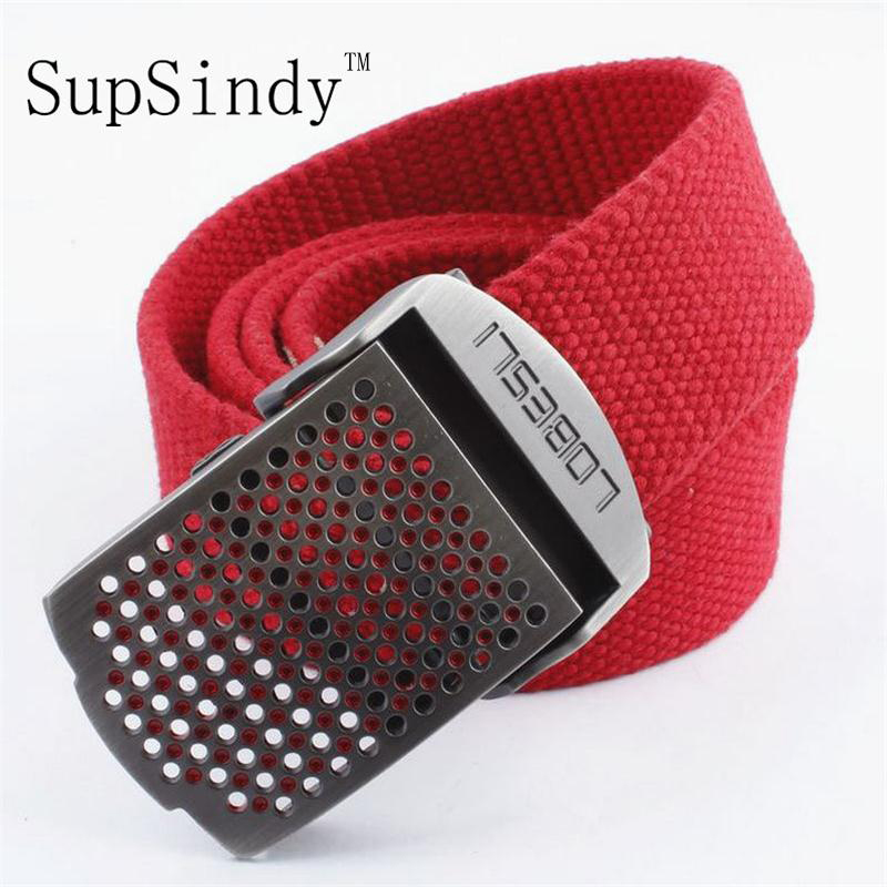 SupSindy Men&women Canvas   belt   Hollow metal buckle luxury jeans   belts   for men vintage tactical   belt   military nylon strap male