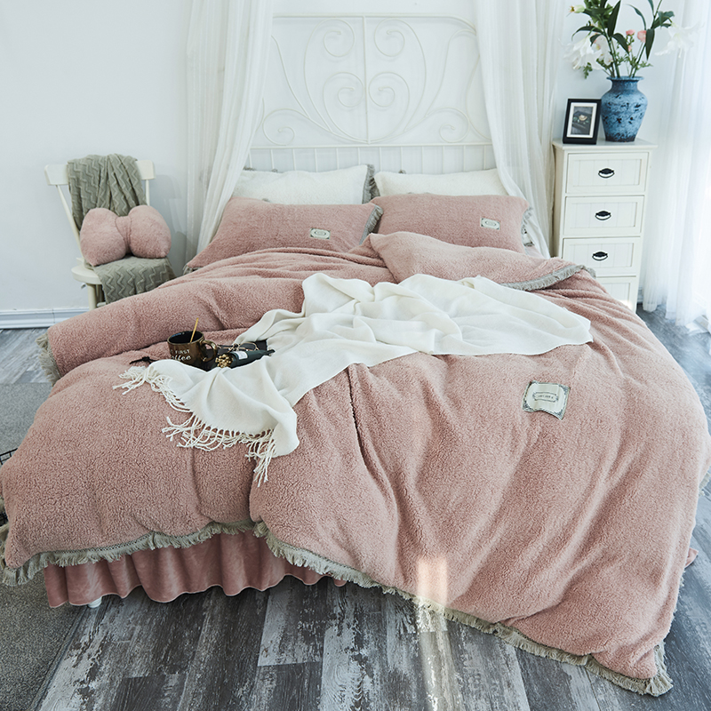 Thick Lambs Wool Velvet Bedding Set Warm Winter Fleece Tassels Duvet Cover Set Bed Sheet Pillowcases Twin Queen King Size 3/4pcs