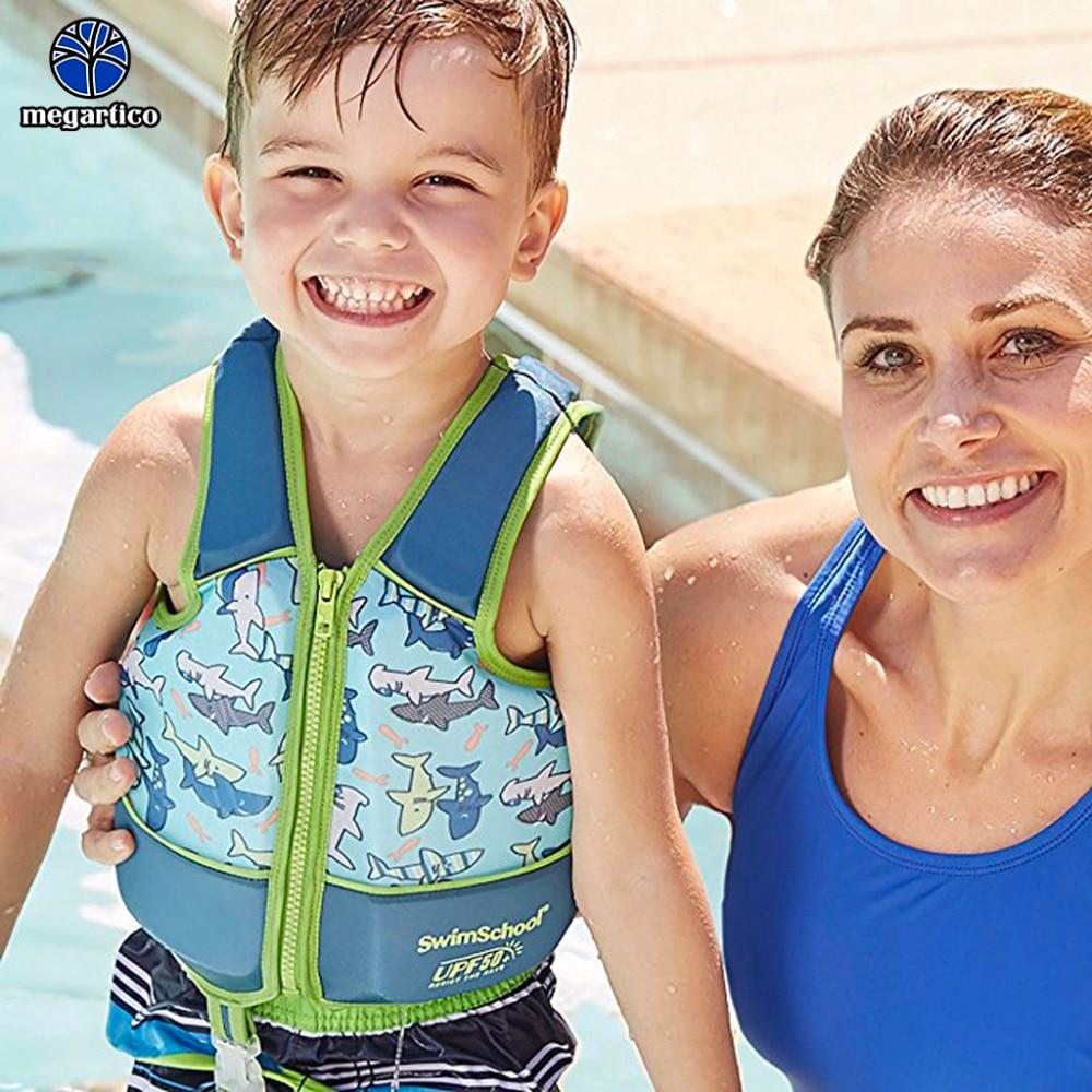 Megartico life vest children 2 3 4 5 6 years old kids swim trainer vest shark