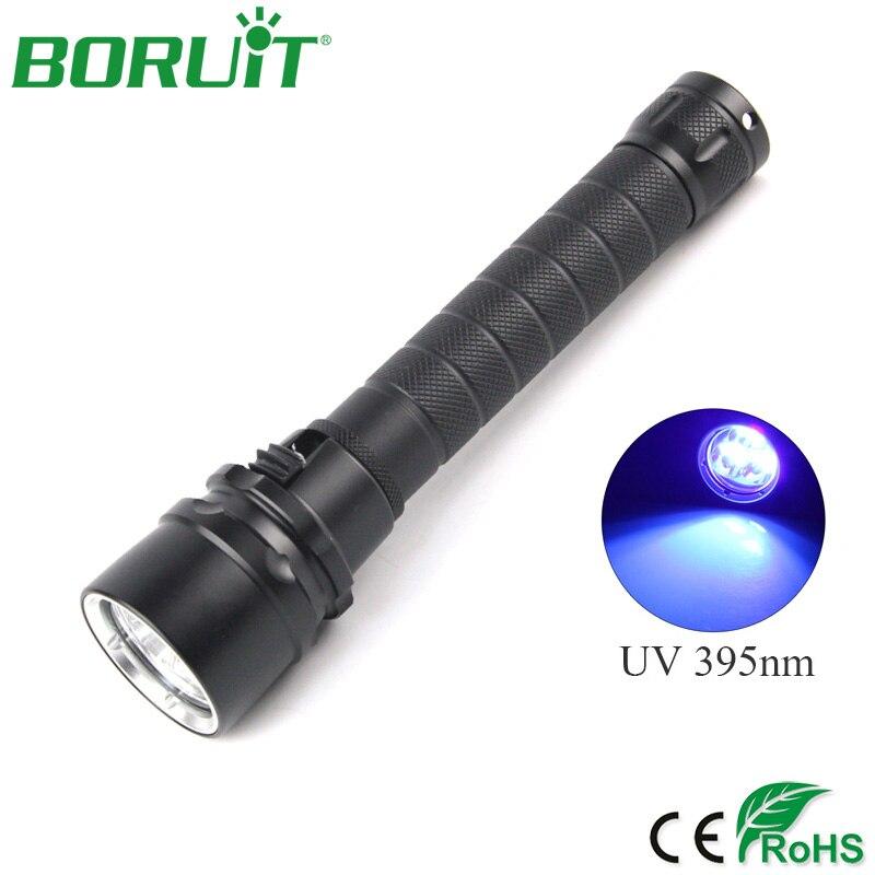 BORUiT 10W 3 LEDs UV Flashlight 395nm Ultra Violet Torch Light Aluminum Waterproof Camping Hunting Lantern Scorpions LED Lights