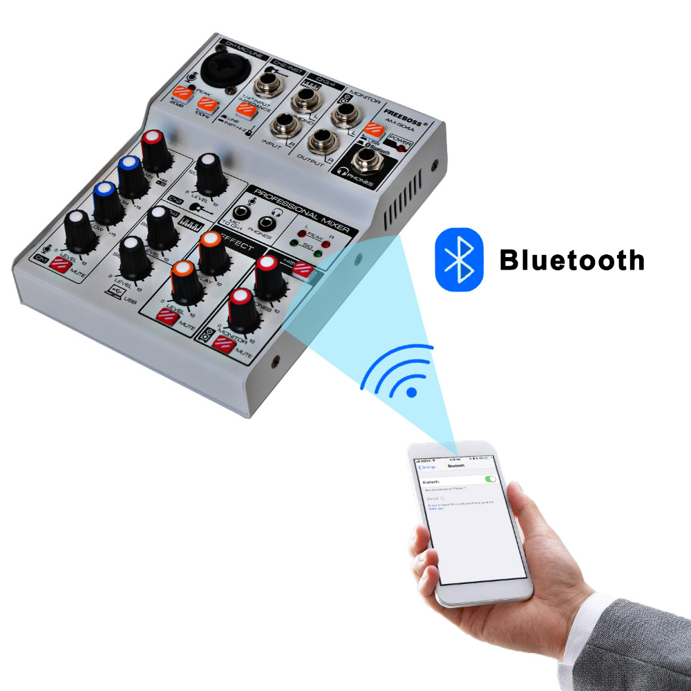 Freeboss Am G04a Bluetooth Record Computer Playba 4 Channels Mic Mono To Stereo Synthesizer Line 2 1 Professional Usb Audio Mixer In Recording From