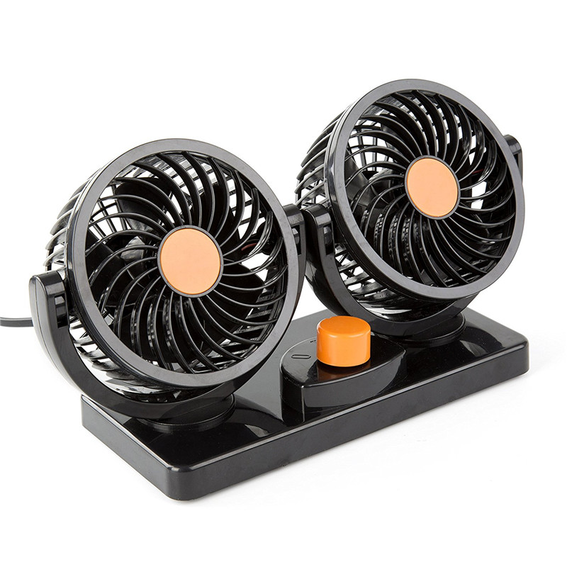 DC 24V Auto Car Fan 360 Degree Adjustable Powerful ABS Fans Adjustment Dual Head Car Auto Cooling Air Fan Orange