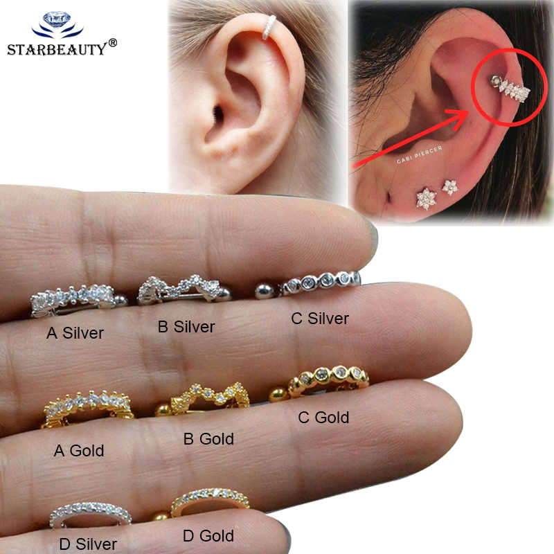 1pc New CABI Piercer Tragus Cartilage Ring Helix Jewelry Labret Piericngs 0.8x8mm Titanium Rook Lobe Piercing Body Jewelry