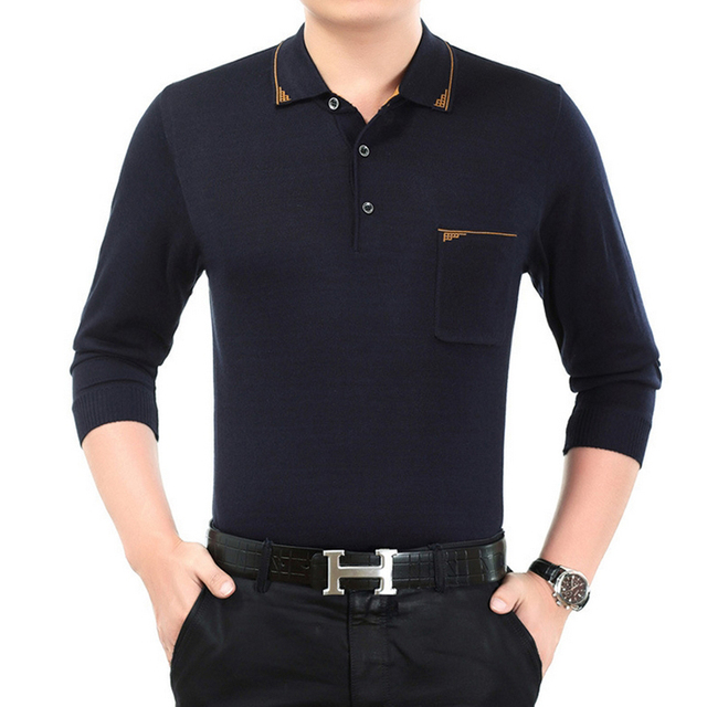 Fashion 2016 Autumn Solid Men's Polo shirt brand quality silk knitwear male turn-down collar long sleeve plus size Polos homme